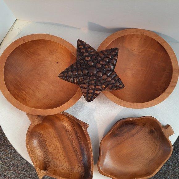 Vintage Bundle of Wood Bowls, Dishes, Trinket Box